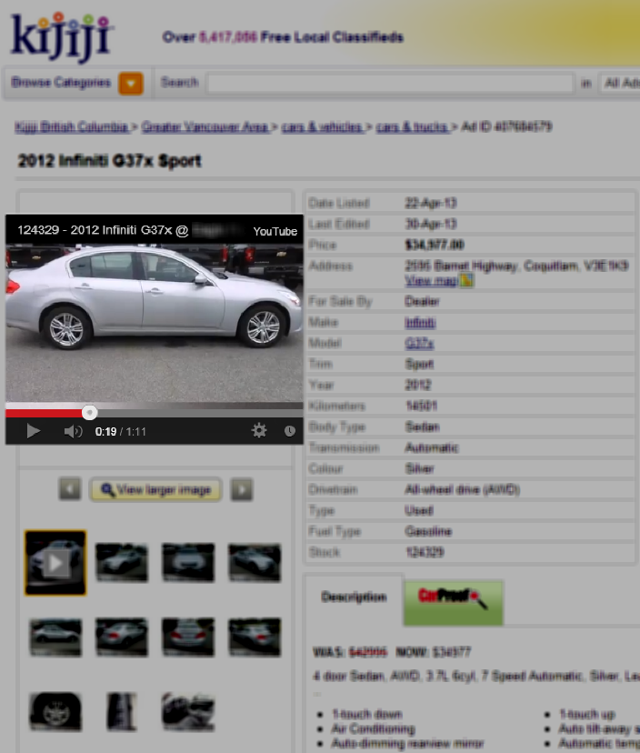 YouTube Videos Embedded as The First Image in the Kijiji Listing