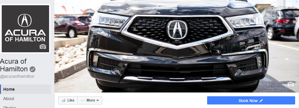 Acura of Hamilton Facebook page profile picture and cover photo