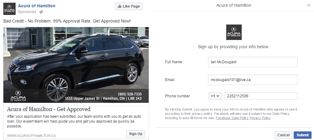 "Example of a Facebook Lead Gen ad. When a user clicks the ""Sign Up"" CTA they're brought to the 2nd screen where they can autofill or enter contact information."