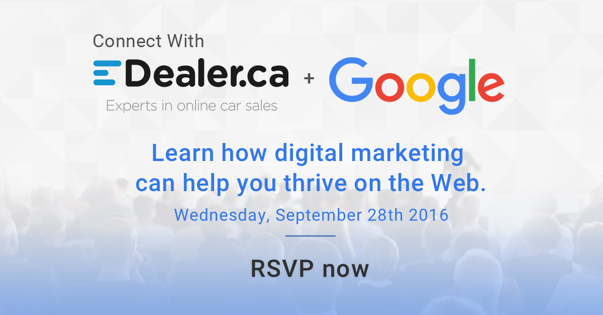 Connect with eDealer & Google to help grow your business online. Click this image to RSVP!